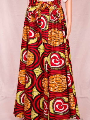 Ammara Lng Flare Maxi w/ Hd Wrap (Circles) in Skirts