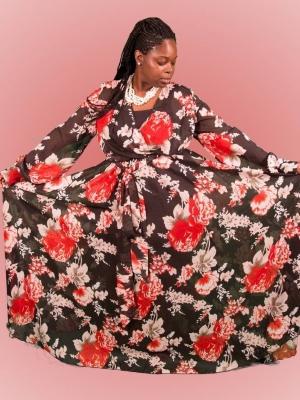 Red/Black LS Chiffon Maxi Dress*Plus in Dresses